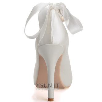Scarpe da sposa con tacco a spillo in raso Scarpe con bocca di pesce Scarpe da banchetto per feste annuali - Pagina 3