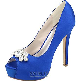 Scarpe da sera scarpe da sposa con strass scarpe da sposa sexy con tacco alto a bocca di pesce sandali a spillo - Pagina 3