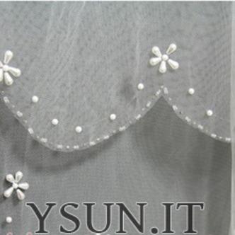 Velo da sposa Multi Strati Bianco Perline Lungo Breve Autunno - Pagina 5