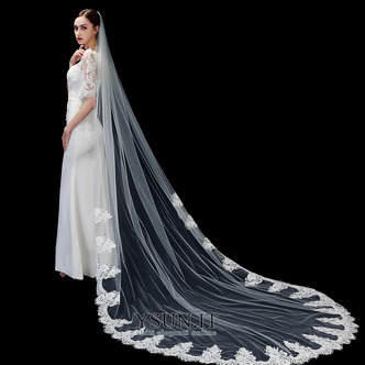 Velo da sposa bianco avorio puro velo da sposa di fascia alta in pizzo applique lungo 3 metri accessori da sposa velo - Pagina 2