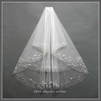 Velo da sposa Breve Primavera moda Con il pettine Perline Bianco - Pagina 1