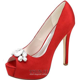 Scarpe da sera scarpe da sposa con strass scarpe da sposa sexy con tacco alto a bocca di pesce sandali a spillo - Pagina 6