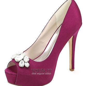 Scarpe da sera scarpe da sposa con strass scarpe da sposa sexy con tacco alto a bocca di pesce sandali a spillo - Pagina 4