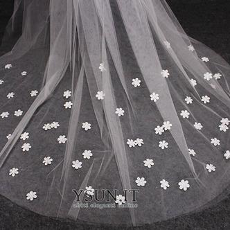 Velo lungo con velo floreale e diadema di lusso a coda di rondine - Pagina 3