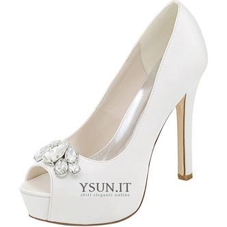 Scarpe da sera scarpe da sposa con strass scarpe da sposa sexy con tacco alto a bocca di pesce sandali a spillo - Pagina 1