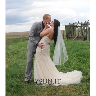 Velo da sposa Con il pettine Primavera Bianco Lungo Breve - Pagina 1