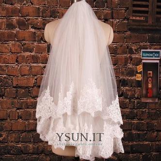Velo corto in pizzo doppio strato con pettine per capelli accessori da sposa velo da sposa da sposa - Pagina 1