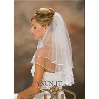 Velo da sposa con doppio bordo in nastro di raso bianco / avorio all'ingrosso - Pagina 1