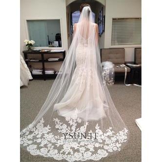 Velo da sposa Formale Bianco Con il pettine Inverno Lungo Pizzo francese - Pagina 1