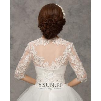 Scialle da sposa moda Applique Ombra Giacca Bianco Pizzo francese - Pagina 3