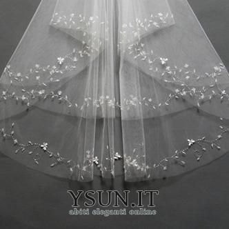 Velo da sposa Breve Primavera moda Con il pettine Perline Bianco - Pagina 4