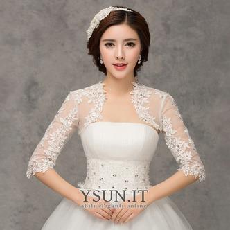 Scialle da sposa moda Applique Ombra Giacca Bianco Pizzo francese - Pagina 1