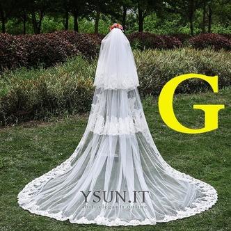 Velo da sposa Lungo Coda lunga Lungo Classe Multi Strati Bianco - Pagina 1