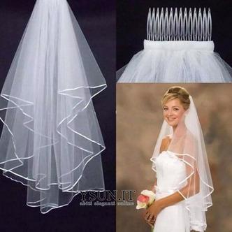 Velo da sposa con doppio bordo in nastro di raso bianco / avorio all'ingrosso - Pagina 2