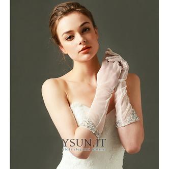 Guanti da sposa Bianco Primavera Tulle Pieno finger Medium Long Traslucido - Pagina 1