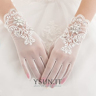 Guanti da sposa Breve Pieno finger Estate Decorazione Perline Bianco - Pagina 1