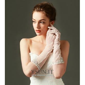 Guanti da sposa Bianco Primavera Tulle Pieno finger Medium Long Traslucido - Pagina 3