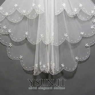 Velo da sposa Multi Strati Bianco Perline Lungo Breve Autunno - Pagina 4