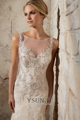 Abito da sposa moda Gonna lunga Senza Maniche all'aperto Pizzo Applique - Pagina 3