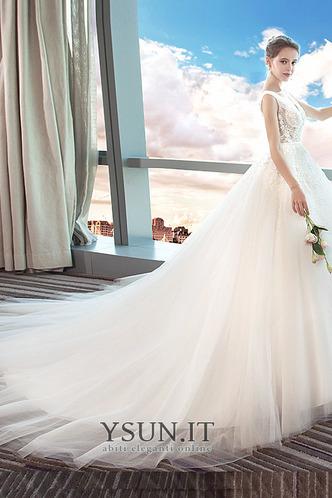 Abito da sposa Eleganti Collo drappeggiato Cattedrale di treno Senza Maniche - Pagina 4