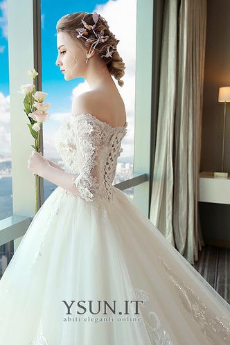 Abito da sposa A-Line Applique Lace Coperta Maniche Corte Collare di spalla Carta - Pagina 4