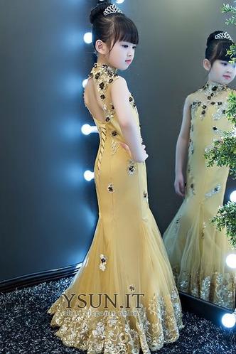 Abito cerimonia bambina Applique Sirena Rosette Ornamento Pizzo Senza Maniche - Pagina 3
