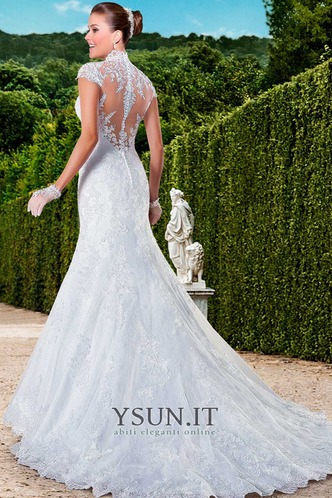 Abito da sposa moda Queen Anne Maniche Corte All Aperto Naturale Gonna lunga - Pagina 2
