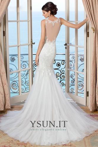 Abito da sposa Sirena Applique V-Scollo All Aperto Senza Maniche Autunno - Pagina 2