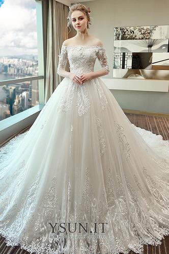 Abito da sposa A-Line Applique Lace Coperta Maniche Corte Collare di spalla Carta - Pagina 1
