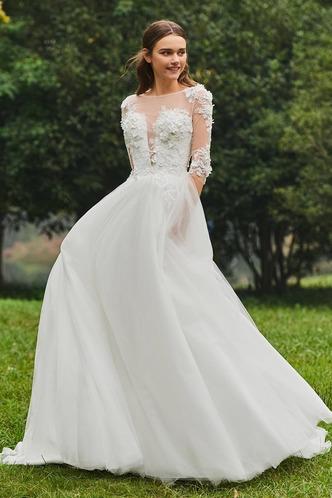 Abito da sposa Inverno Bateau trendiness all'aperto A-Line Naturale - Pagina 3