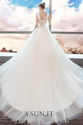 Abito da sposa Eleganti Collo drappeggiato Cattedrale di treno Senza Maniche - Pagina 2