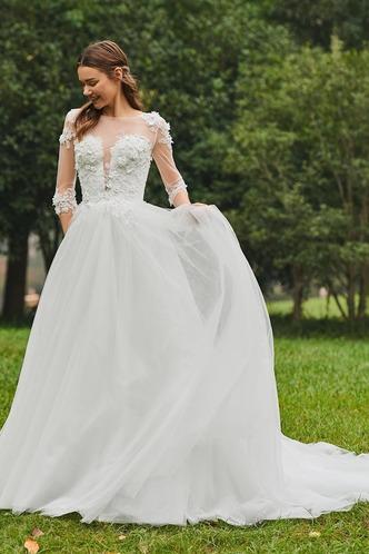 Abito da sposa Inverno Bateau trendiness all'aperto A-Line Naturale - Pagina 4
