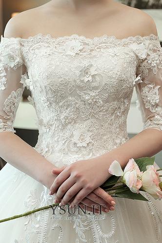 Abito da sposa A-Line Applique Lace Coperta Maniche Corte Collare di spalla Carta - Pagina 5