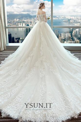 Abito da sposa A-Line Applique Lace Coperta Maniche Corte Collare di spalla Carta - Pagina 3