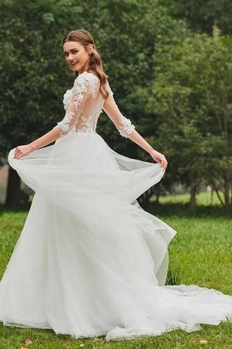 Abito da sposa Inverno Bateau trendiness all'aperto A-Line Naturale - Pagina 2