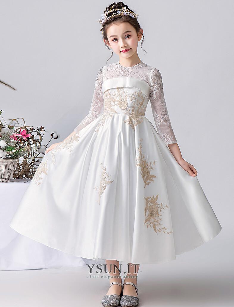 new product ba2cc 3adeb Abito cerimonia bambina Naturale Tipo standard A-Line ...