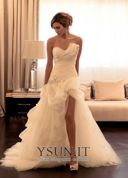 new style 86533 dc82c Abito da sposa Senza Maniche unbacked Gonna lunga Organza ...