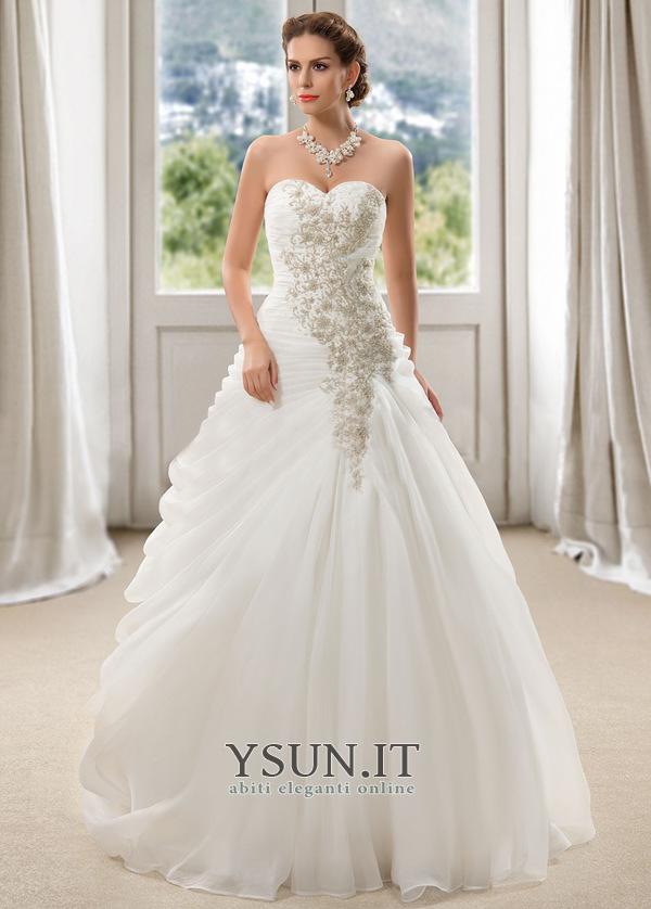 low priced 473d3 2e299 Abito da sposa Organza Cerniera Lungo Primavera Ball Gown ...