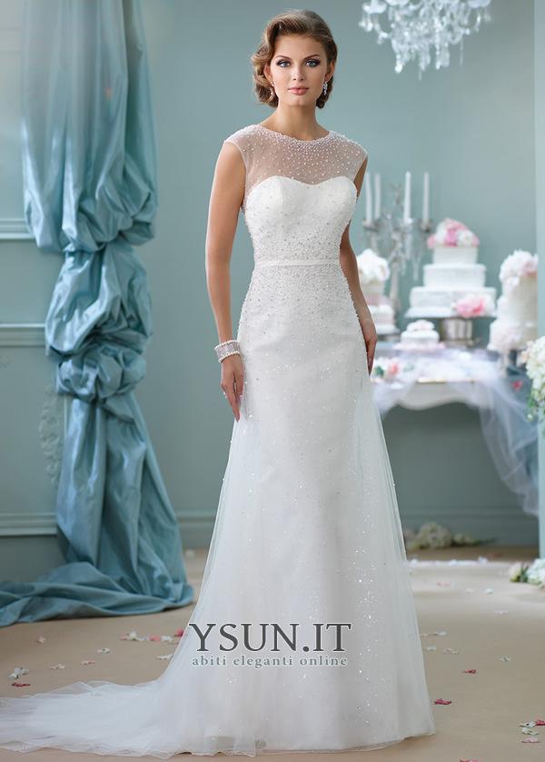 f2a0aa5e3803b Abito da sposa Primavera Tulle Shiena Sheer decorato Perla Naturale - Pagina  1 ...