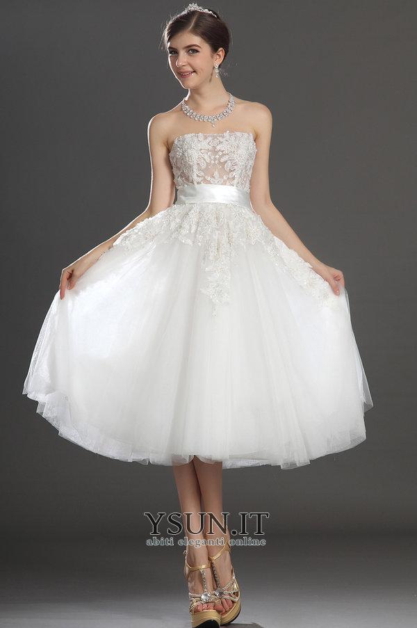 best service 4e144 534cc Abito da sposa Principessa Romantici Tulle senza spalline ...