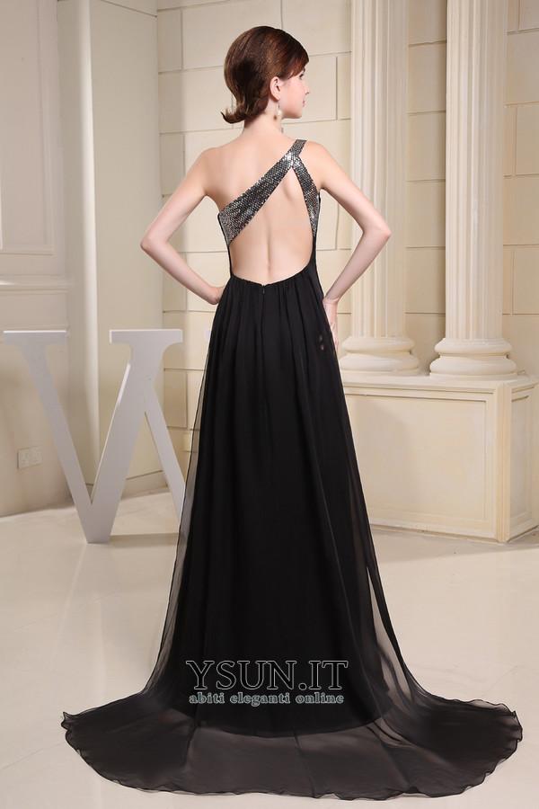 ... Vestito nero lungo Scollo Asimmetrico Semplici Naturale Schiena Nuda -  Pagina 2 ... ccb3ba1765d