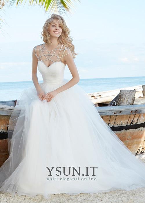 Vestiti Semplici Da Sposa.Abito Da Sposa Tulle Spiaggia Semplici Perline Naturale Decorato