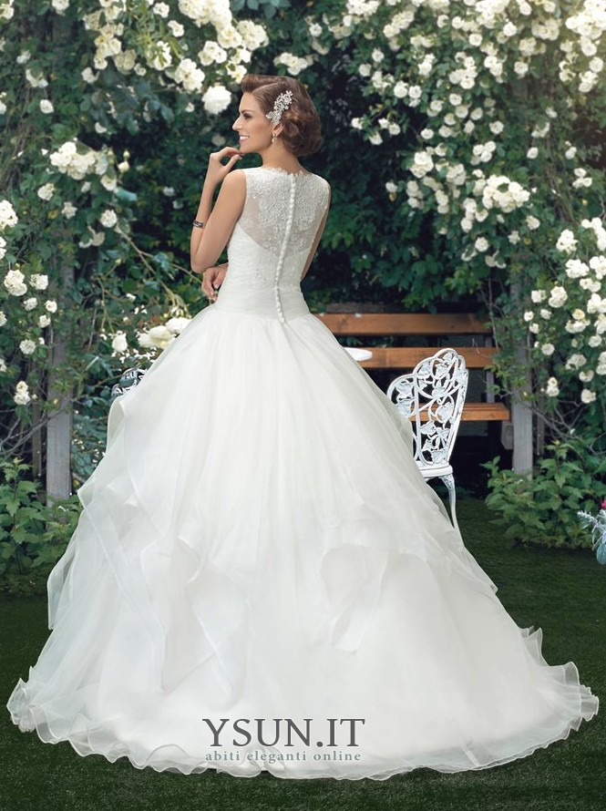 Vestiti Da Sposa Pomposi.Abito Da Sposa Naturale Pomposo Odest Lungo A Line Bateau Www