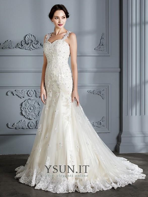 ... Abito da sposa Sirena Autunno Eleganti Lace Coperta Breve treno Senza  Maniche - Pagina 5 99b6fb7a71e