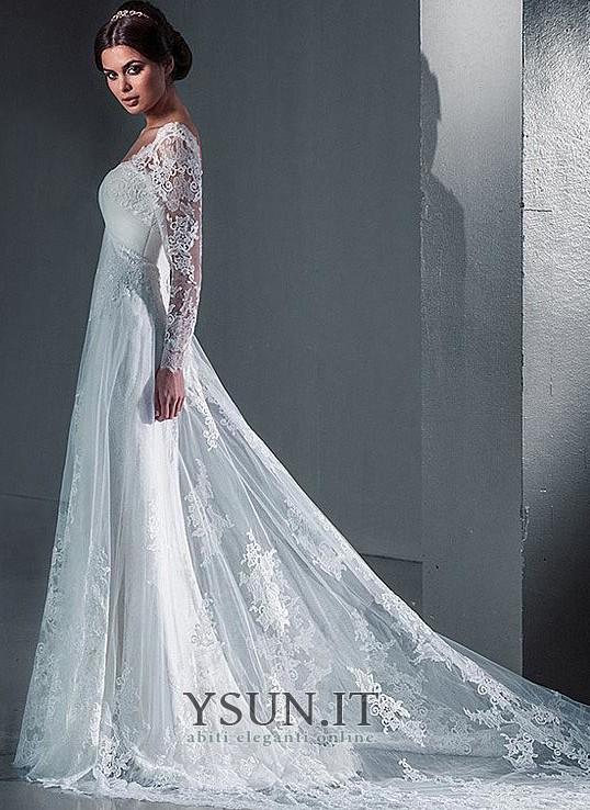 ... Abito da sposa Inverno Maniche Lunghe Tromba Lace Coperta Lungo Schiena  Nuda - Pagina 2 ... 7c011799fcb