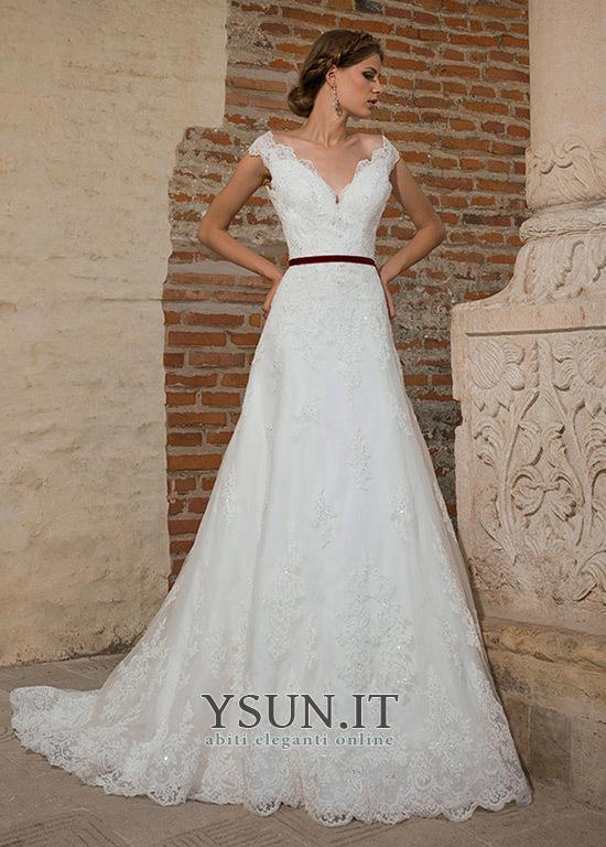8941f45d6270 Abito da sposa Scollo a v V Chiesa Lungo A-Line Applique Maniche Corte -  Pagina ...