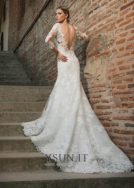 Abito da sposa Romantici Sirena Lungo Maniche a 3 4 all u0027aperto Pizzo  francese ... fa8b44ae830