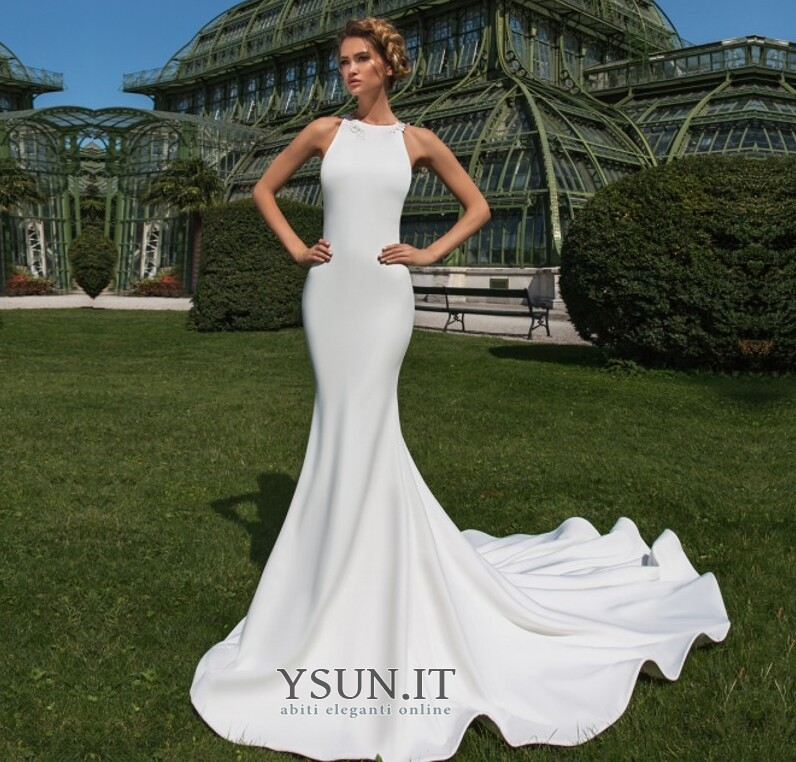 big sale d3307 98ccd Abito da sposa Petite Naturale Lunghi decorato sirena ...
