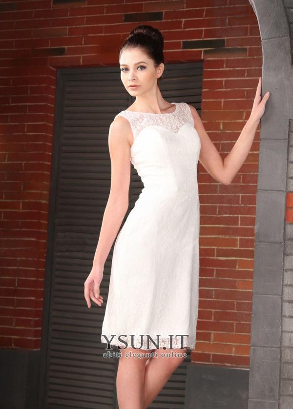 designer fashion f92d4 c24de Abiti da sposa tubino corto in pizzo francese Alta Coperta ...