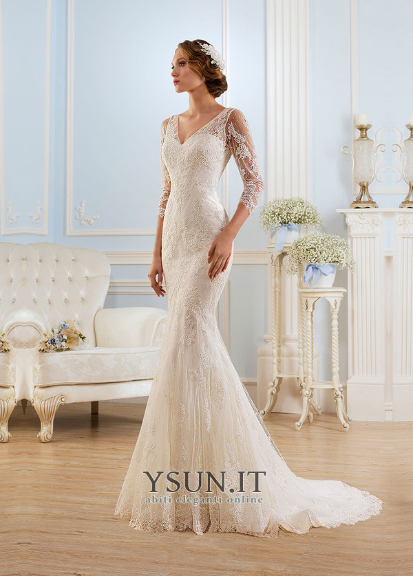 889f62014de8 Abito da sposa Sirena V-Scollo Applique Pizzo Illusione maniche Gonna lunga  - Pagina 1 ...